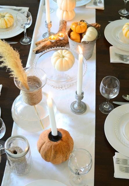 tavola zucca portacandele