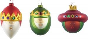 .amazon 46.37 Alessi, Gaspare, Melchiorre, Baldassarre, set di 3 palline per albero di Natale in vetro, decorate a mano, Multicolore