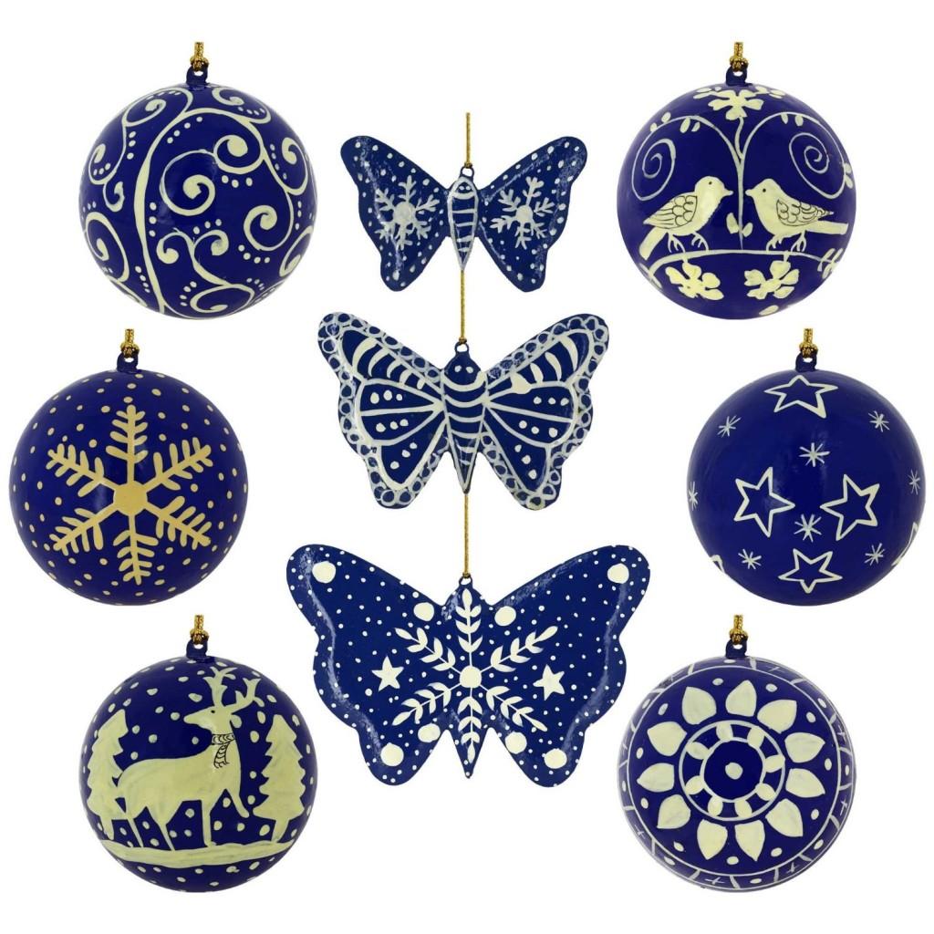 .amazon 50.76 6 palline e tre farfalle carta pesta blu di di ShalinIndia