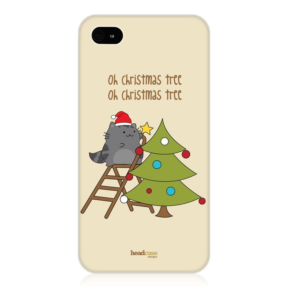 .amazon 6.45 Head Case Designs - Custodia rigida per Apple iPhone 4-4s, motivo albero di natale e gattino