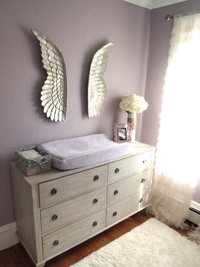 baby purple-nursery-angel-wings