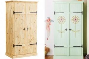 colore ikea-fjell-wardrobe-wood ridipinto e decorato con disegni realizzati con fili di lana
