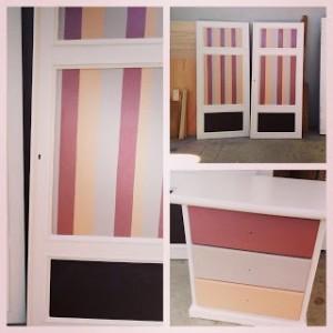 creativo recupero delle ante di un armadio con righe colorate e pannelli lavagna realizzzione ladeuxiemefoisblogspot