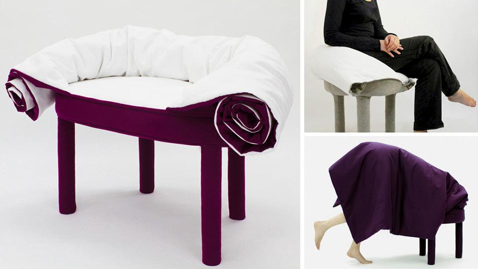 11 La poltrona Collerette, per esempio, ha una coperta che arrotolata funge da spalliera e braccioli