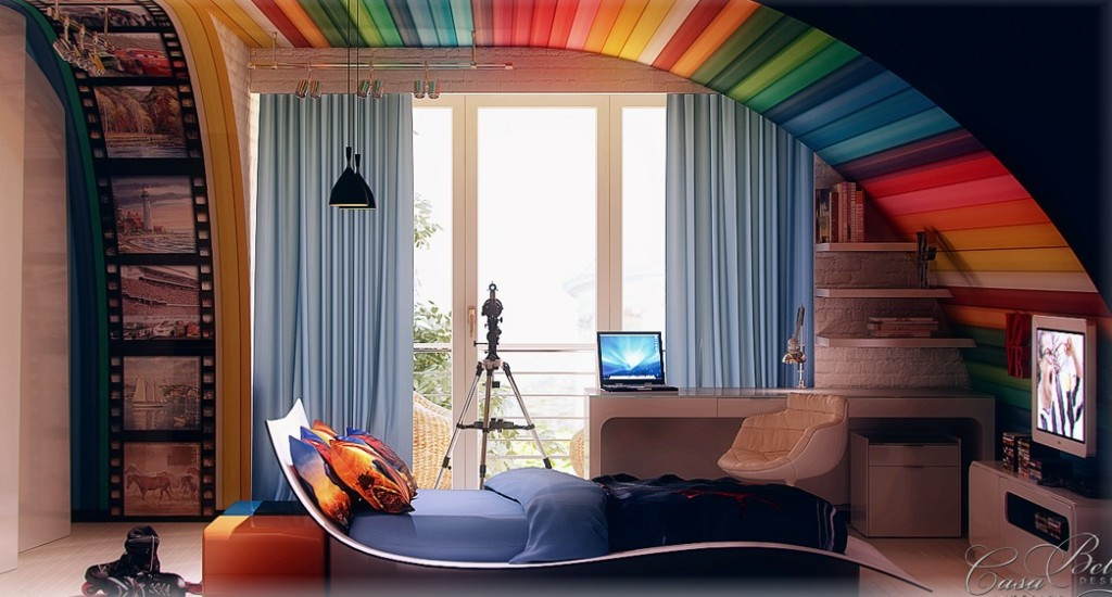 Rainbow-themed-kids-room