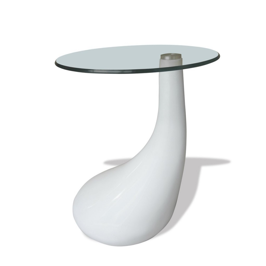 .amazon 60.99 vida xl Tavolino salotto moderno vetro design bianco a goccia