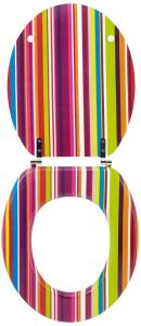 .amazon Wirquin 20717964 - Sedile WC Trendy Line, motivo funky righe multicolor