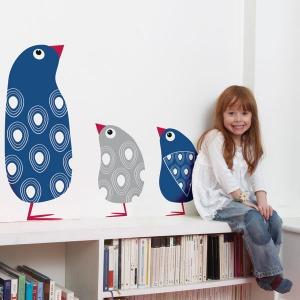 parete stickers-grands-pingouins-bleus-et-gris 49.00€ www.lesinvasionsephemeres.com