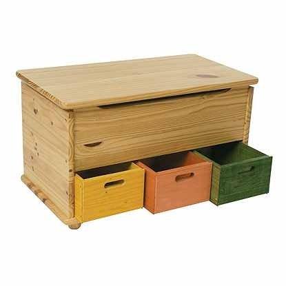 Baule cassapanca 3 cassetti colorati in legno naturale, parte superiore verniciabile portagiochi