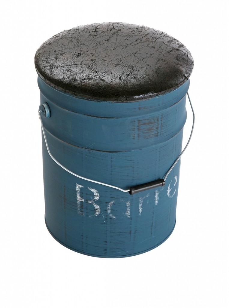 Sgabello BIDONCINO contenitore bidone barile AZZURRO CON POUF NERO