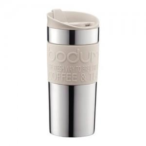 .amazon Bodum Vacuum Tazza da viaggio in acciaio INOX con coperchio e banda bianchi, piccola, 0,35 l fashion come uno shaker