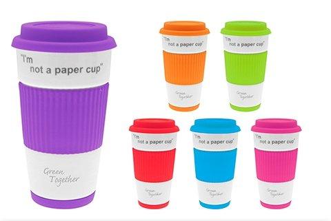 .amazon Lesser & Pavey I'm Not A Paper Cup - Tazza termica da viaggio in ceramica con coperchio e rivestimento in silicone 7.55