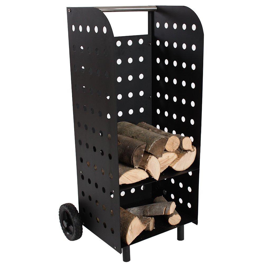 .amazon di TecTake Carrello portalegna in legno caminetto camino stufa porta legna da ardere 52.99