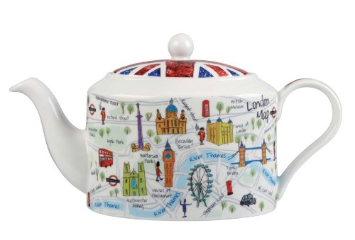 inglese James sadler Churchill China - Teiera in Porcellana London Maps Design di James Sadler