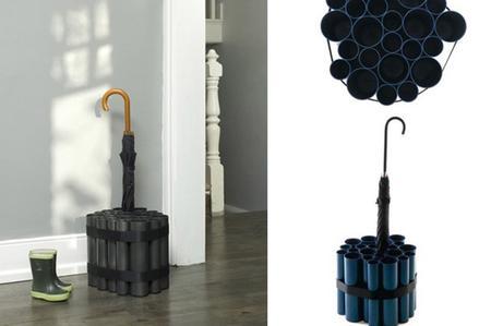 portaombrelli realizzato con tubi di cartone acquistabili in ferramenta