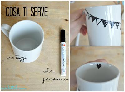 un pennarello ceramica fissare il colore inserendo la tazza in forno a 180° per 30 minuti