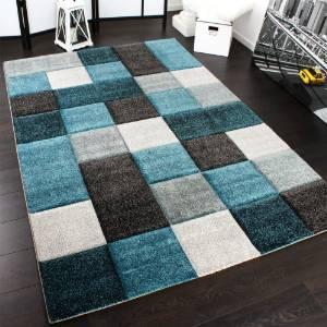 .amazon di PHC 69.00 Tappeto Design Moderno Lavorato A Mano Con Bordo A Quadri Turchese Grigio, Dimension 120x170 cm