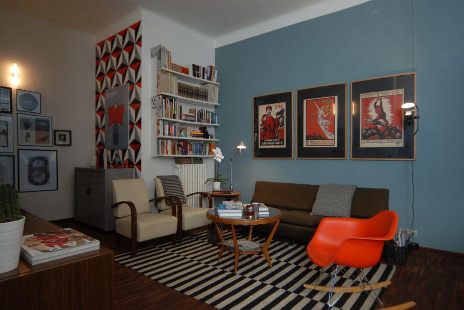 50 sfumature di azzurro - architettura e design a roma - Parete Soggiorno Fucsia 2
