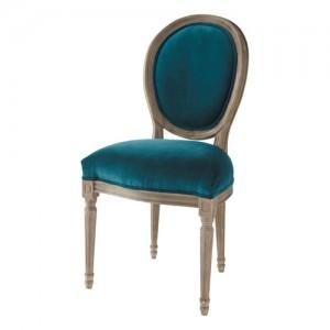 louis sedia in velluto blu pavon di maison du monde