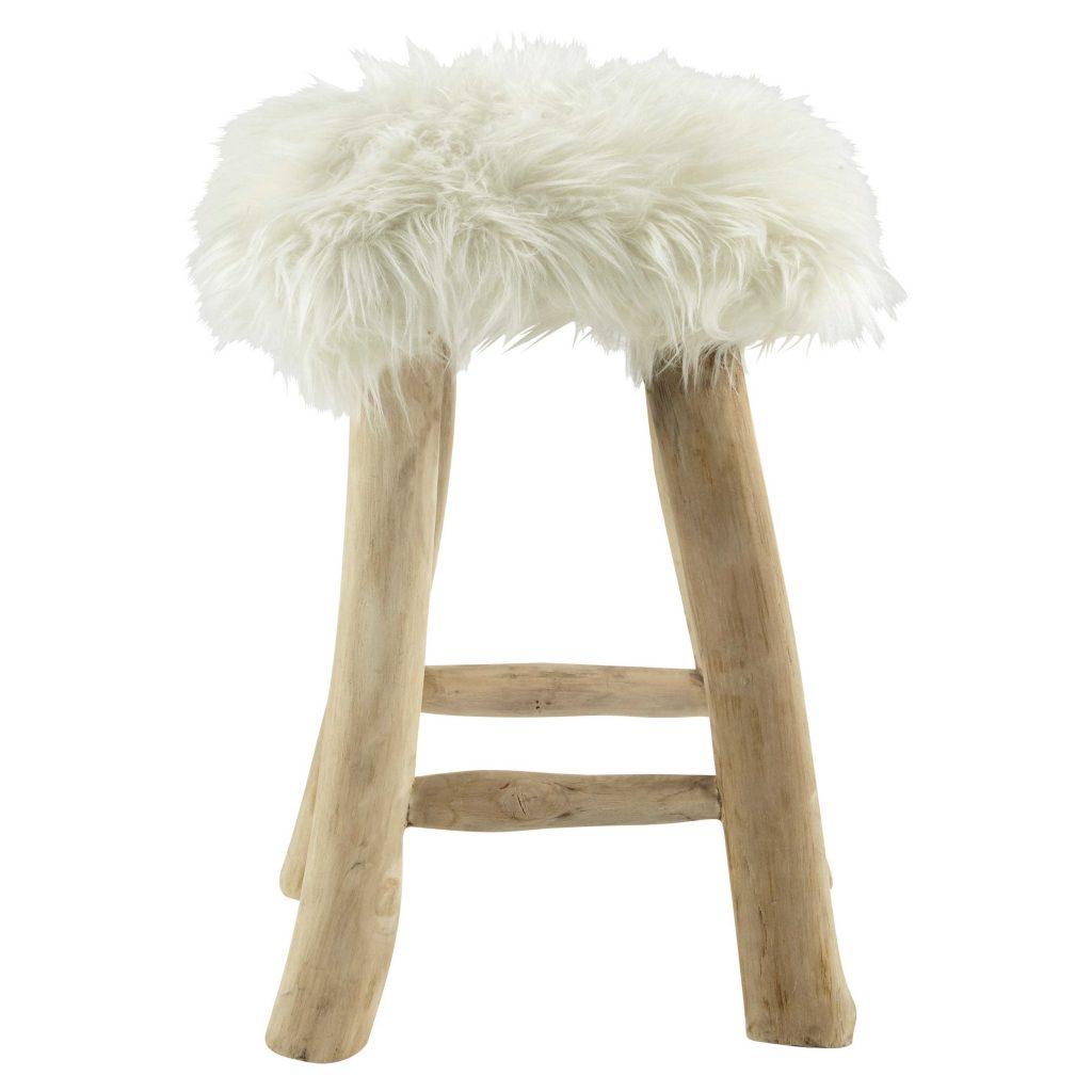 .maison du monde ha l'aspetto primitivo lo sgabello Sgabello in simil pelliccia e tek naturale EDELWEISS