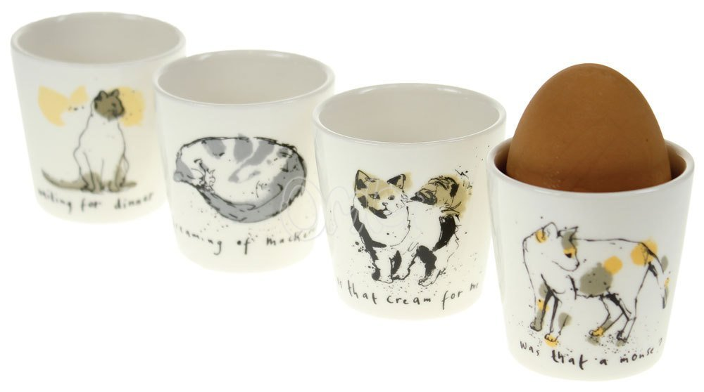 .amazon ECP DESIGN LTD - Set di 4 portauovo in porcellana by Ruth Jackson decorati con gatto, colori assortiti
