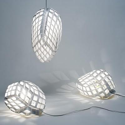 luce lampada anemone Progettato da Heath Nash per Artecnica con struttura a nido d'ape