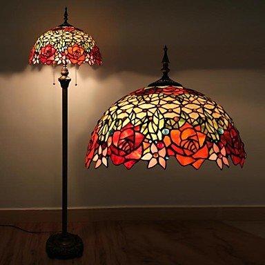 .AMAZON BY LAMPADE DA TAVOLO Makenier Lampada da terra tiffany con vetri colorati e perle di vetro