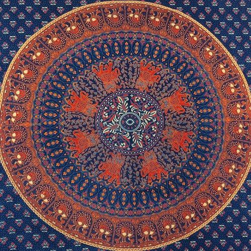 Doppio Hippie Indiano Arazzo Blu Mandala Copriletto da Parete Gitano Boho