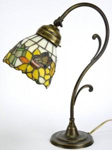 .amazon FD-BOLLETTA Lampada ottone brunito da tavolo,scrivania,lampade stile liberty con vetro in stile tiffany m20