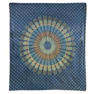 .amazon copriletto a fiori Copriletto penna di pavone 225x200cm Turchese Blu Arancione Mandala Mano d'opera India