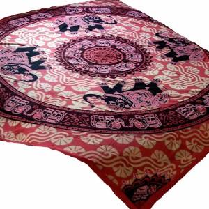 .amazon copriletto a fiori Copriletto rosso viola elefanti Mandala piante 225x205cm decorazione casa Mano d'opera d'India