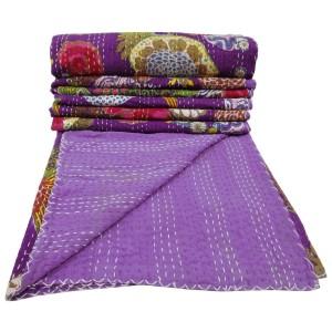 .amazon copriletto viola trapunta rovesciabile doppia dimensione kantha cotone viola gudri copriletto floreale regalo indiano di 86 x54 cm