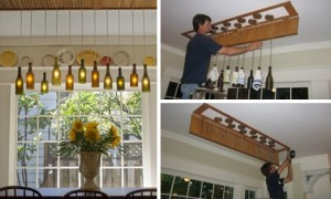 Luci Diy Wine Bottle Hanging Lights. Lampadario Con Bottiglie Fai Da Te
