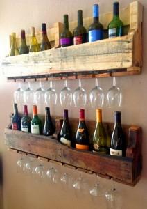 pallet porta bicchieri e porta bottiglie