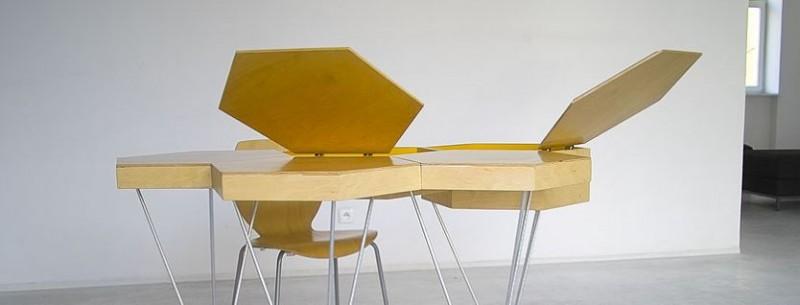 piano Anche il Cloud Modular Table di Anna e Mark Lorens, a dispetto del nome, si ispira alle perfette geometrie delle api anche qui possibilità di modularità in + contenitore
