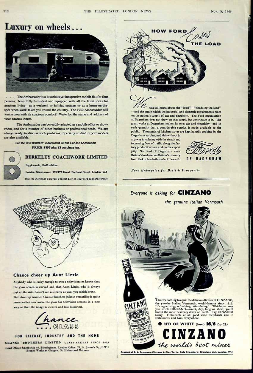 Carta da parati 1949 della pubblicità Cinzano Ford di Old Print