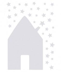 Sticker mural maison et étoiles grises 20.00€ lilipinso.com