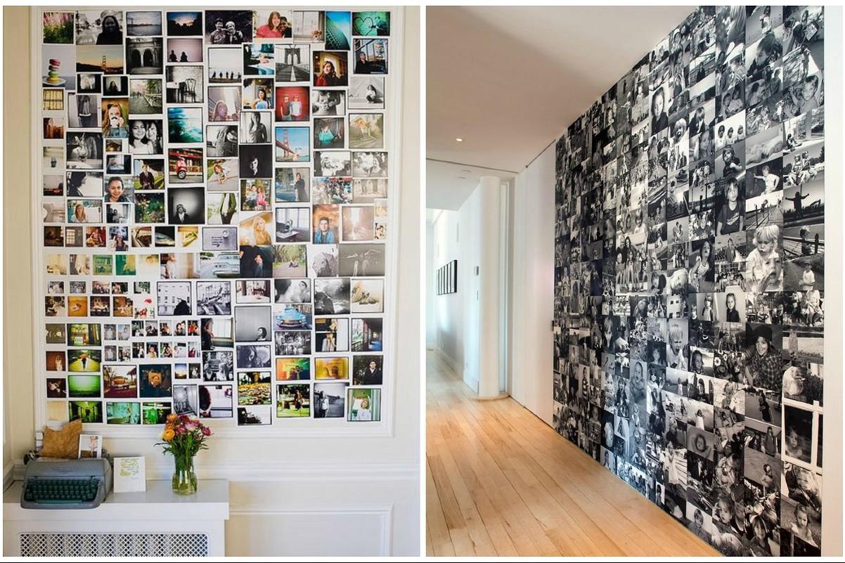 Collage come decorare una parete con vecchie fotografie for Decorare muro stanza