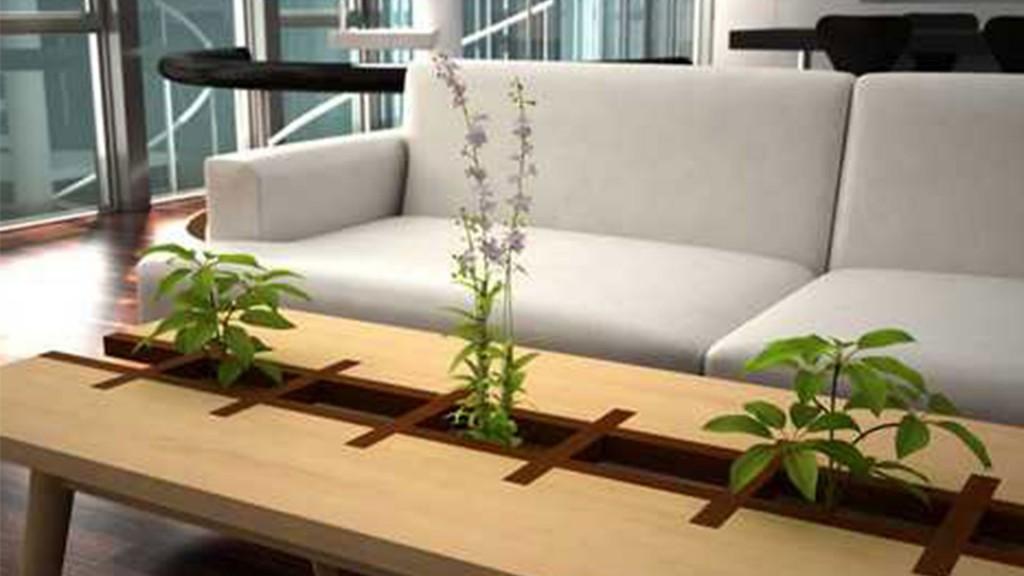 design di greg zulkie. il tavolino con inserto in metallo in cui far crescere tenere piantine