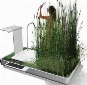 design prato realizzata dal designer jun yasumoto questa doccia è in grado di sostenere un filtraggio naturale delle acque reflue chiamato fitodepurazione
