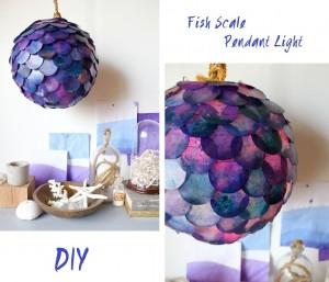 la designer Kar Paslay ci dona questo fantastico tutorial per realizzare la lampada scale ispirata al mare le squame sono realizzate intingendo nella cera pezzi di carta