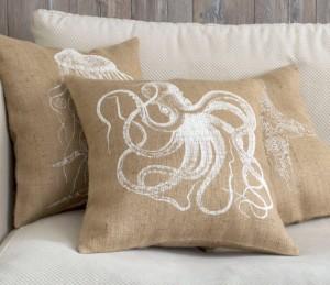 mare copricuscino in stile rustico con stampa octopus fatta a mano su etsy di pillowmerustic