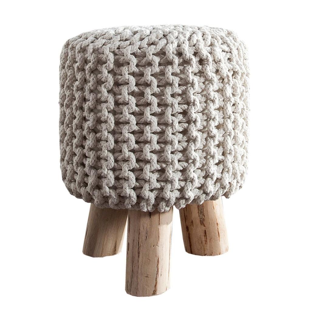 .amazon gabello in corda di Invicta Interior Leeds con gambe in legno, 45 cm, bianco