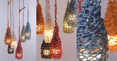 lampada 5 metri di corda colorata annodata in una trama apparentemente disordinata ma con un risultato unico. Questo c'è alla base delle lampade pendenti firmate Jed Crystal fatte a mano,