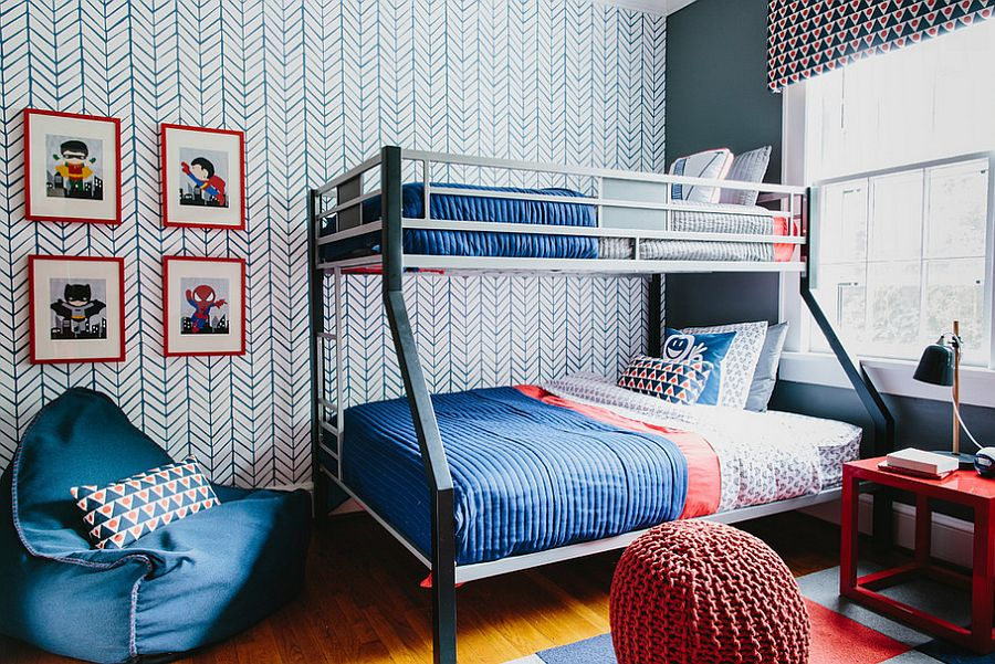Kids-bedroom-with-chevron-pattern-accent-wallpaper-and-bunk-bed