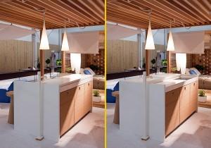 arch Exteta con la Millenium kitchen in bamboo e corian, con un piano scorrevole che la trasforma da mobile living a zona cucina