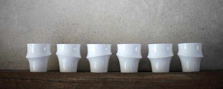 design bamboocups vasi di bamboo in ceramica di Reiko Kaneko
