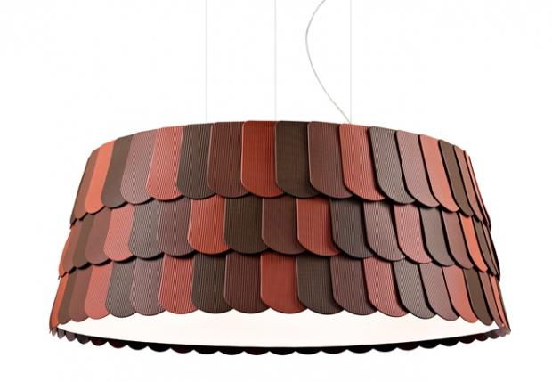 colore 947 euro.scaglie in gomma sul lampadario Roofer, proposto da Benjamin Hubert per Fabbian