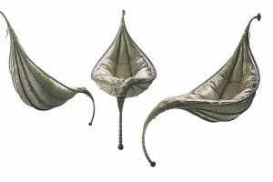 design amaca per interni di aqua creations satala in acciaio galvanizzato e morbidi cuscini
