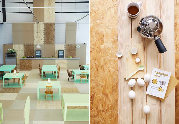 pubb Chipboard-Interiors-cafe-styling Pannelli OSB sono utilizzati come accenti in questo caffè nordico